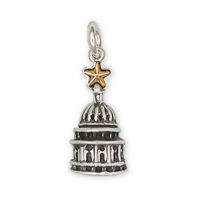 Texas Capitol Dome Sterling Silver Charm