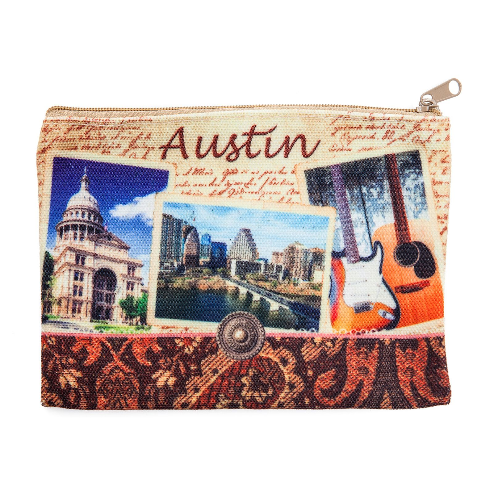 Austin Collage Zippered Cloth Pouch