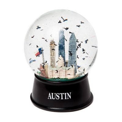 Austin Glitter and Bats Large Glass Snow Globe