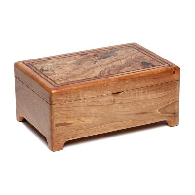 Capitol Wood Grain Top Raised Bottom Jewelry Box