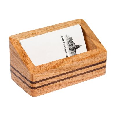 Capitol Wood Desk Business Card Holder
