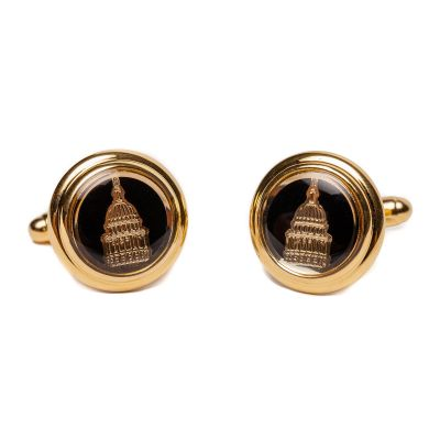 Black Capitol Dome Gold Plated Cuff Links