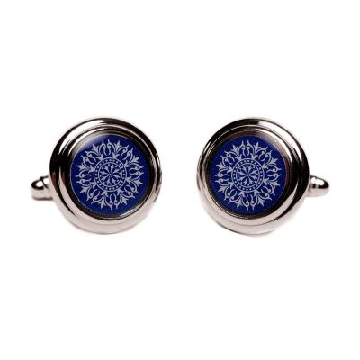 Blue Silver Oculus Cuff Links