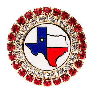 Red Stone Texas Map Brooch