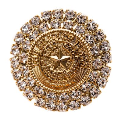 Gold Texas State Seal Brooch