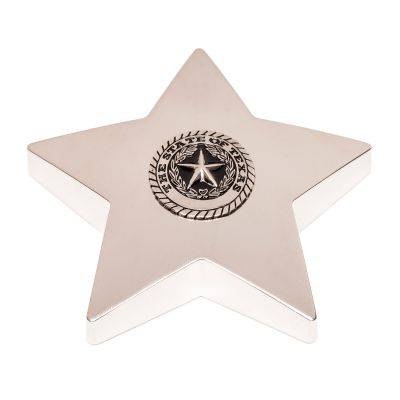Texas State Seal Silver Tone Star Paperweight