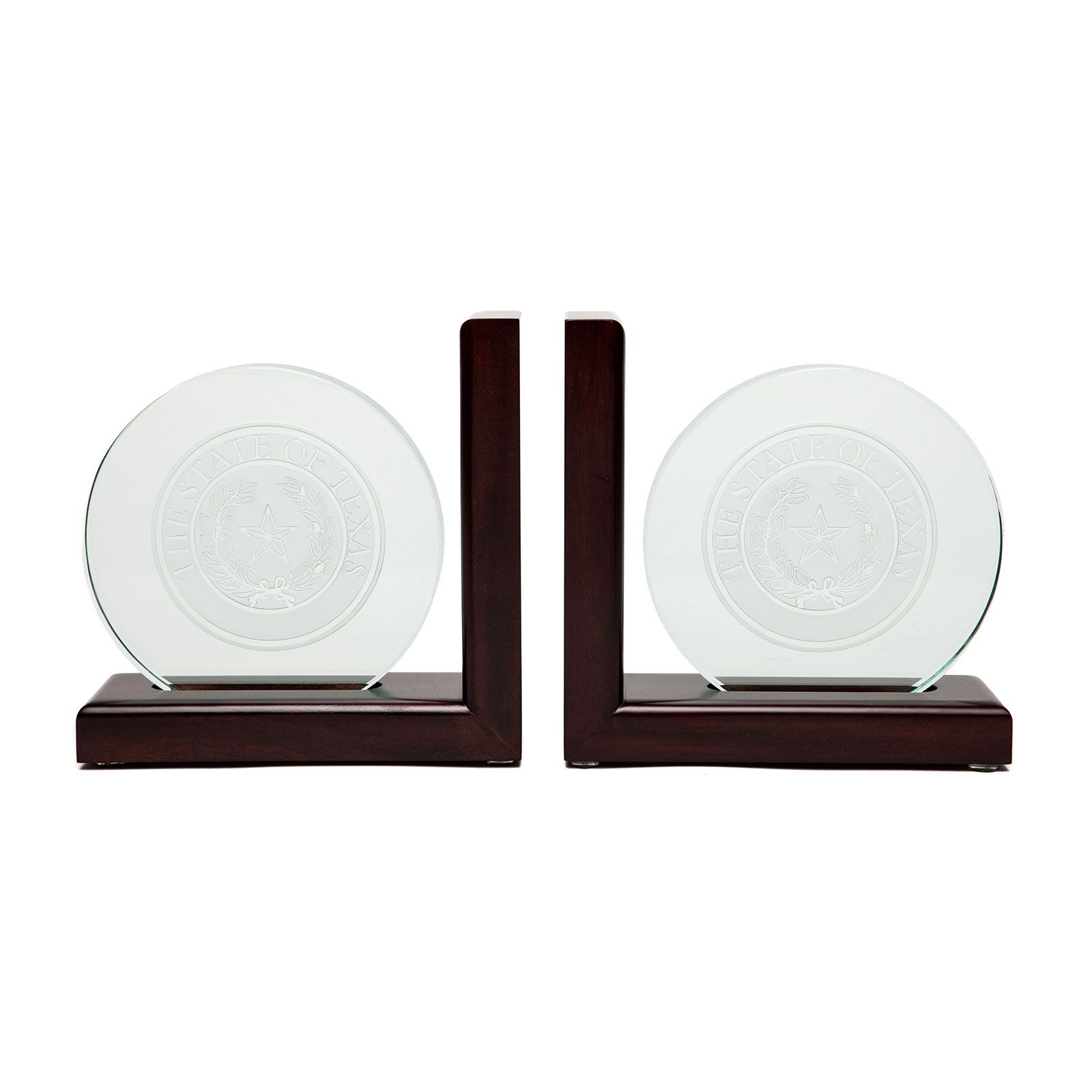 Glass and Wood Texas State Seal Bookends | Texas Capitol Gift Shop