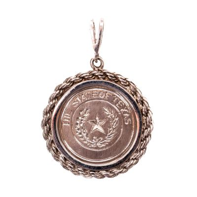Texas State Seal Sterling Silver Pendant