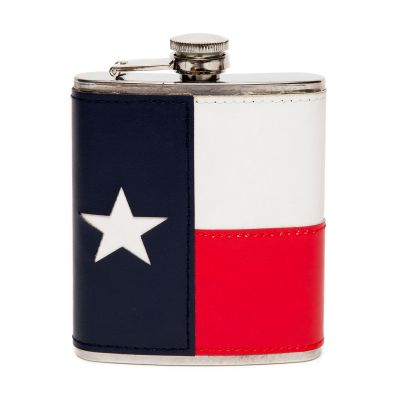 Texas State Flag Leatherette Wrapped Metal Flask