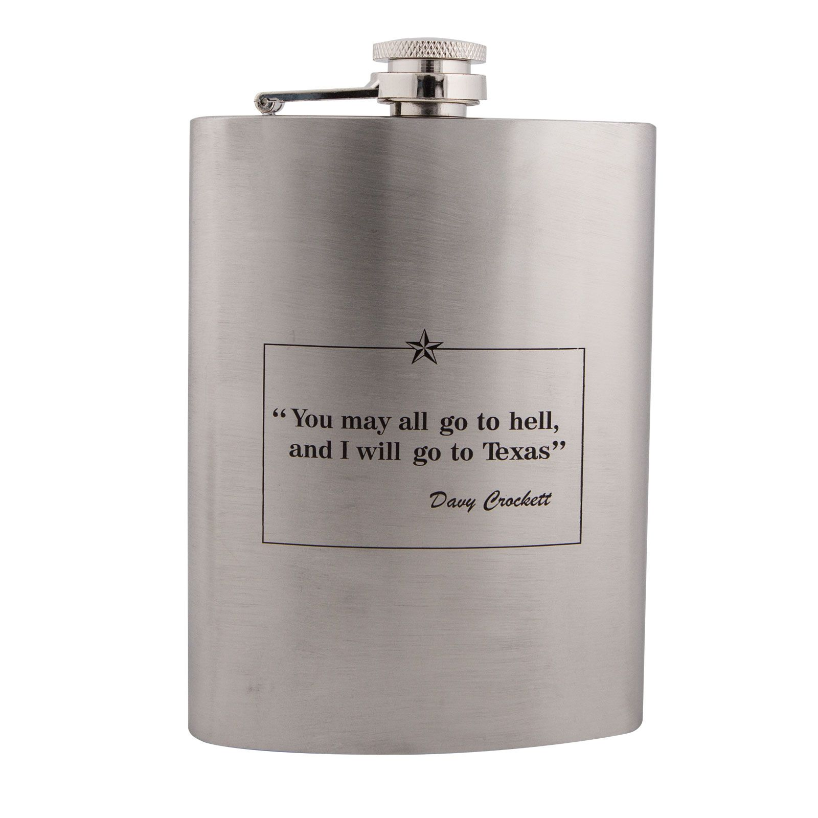 Davy Crockett Quote Metal Flask