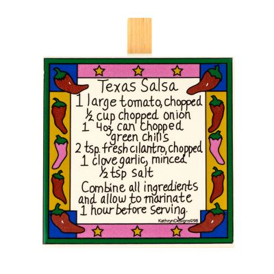 Texas Salsa Recipe Ceramic Stand-up Message Clip