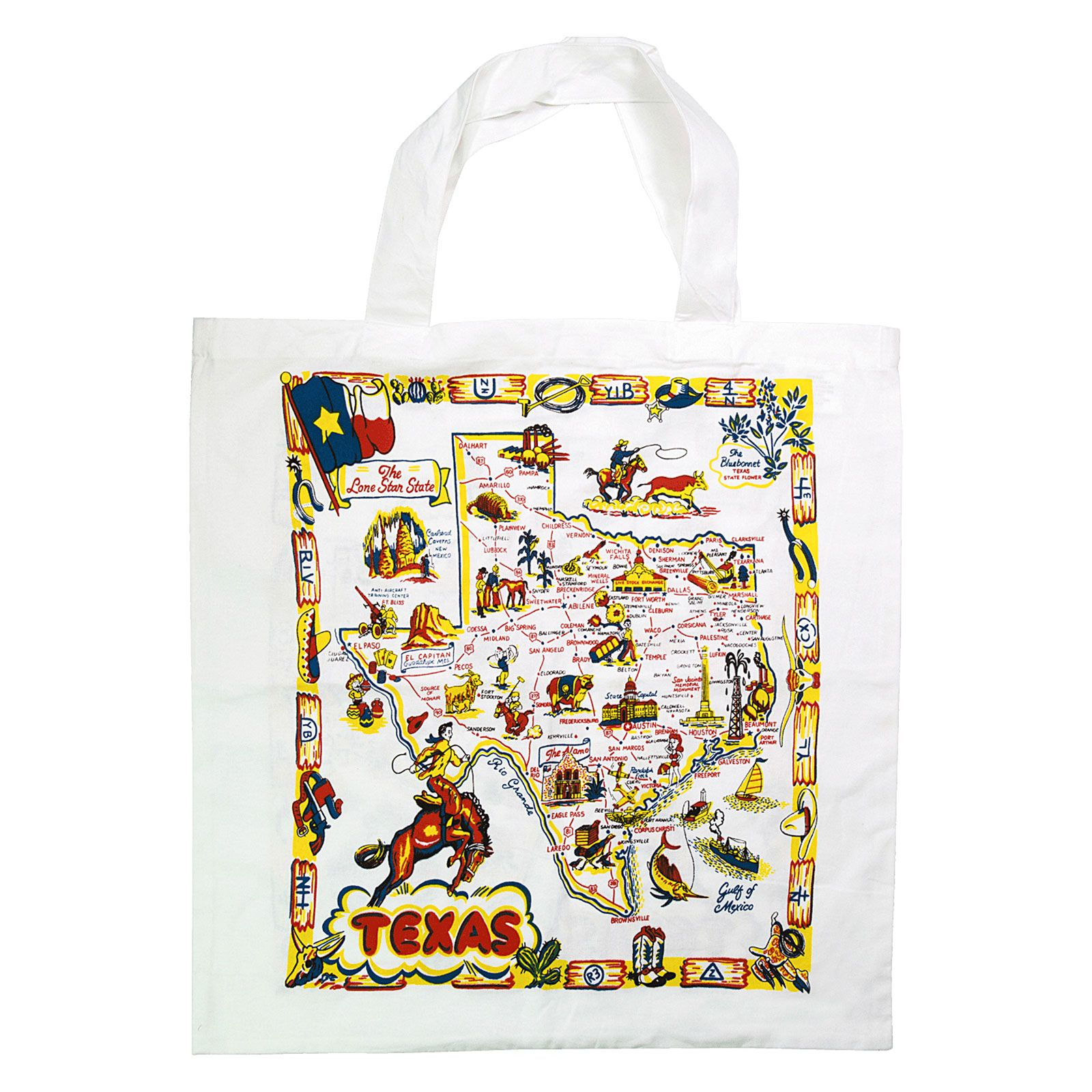 Texas Roadmap Market Tote Bag