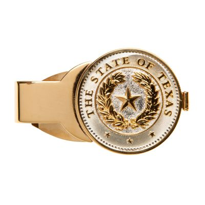 Gold Texas State Seal Money Clip