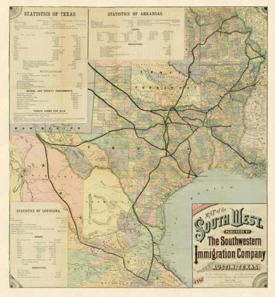 The Southwestern Immigration Company Map of the Southwest, 1881