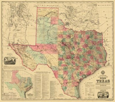 M. V. Mittendorfer A. R. Roessler's Latest Map of the State of Texas, 1874