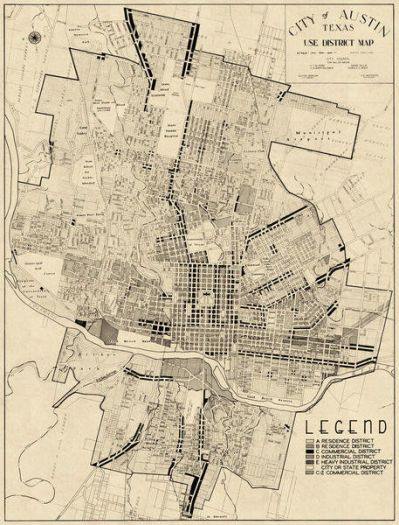 Austin Chamber of Commerce City of Austin, Texas: Use District Map, 1939