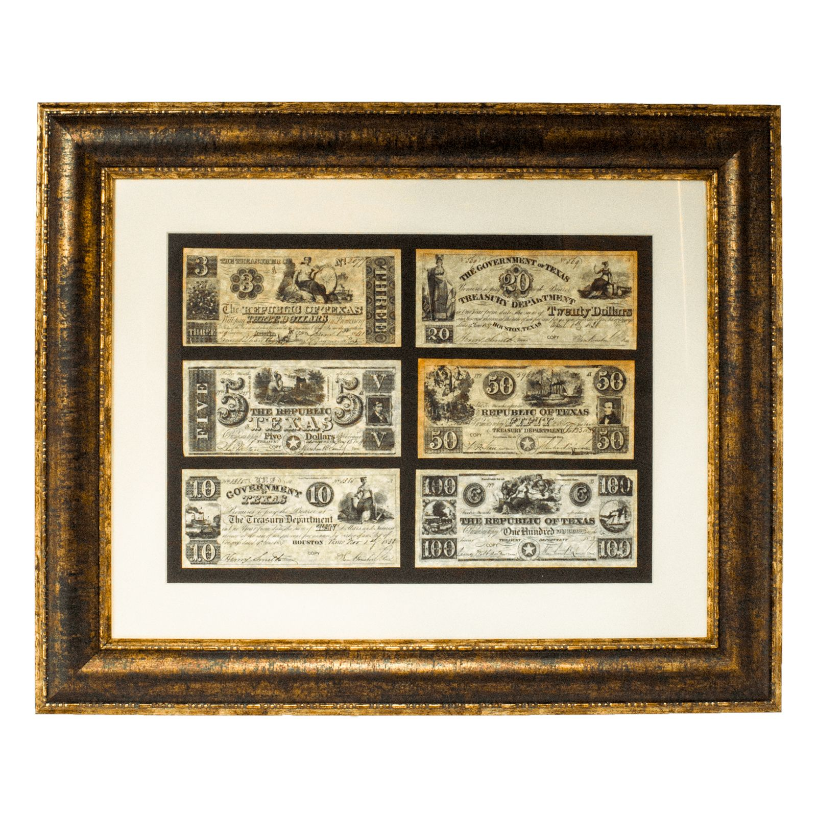 Framed Republic of Texas Currency