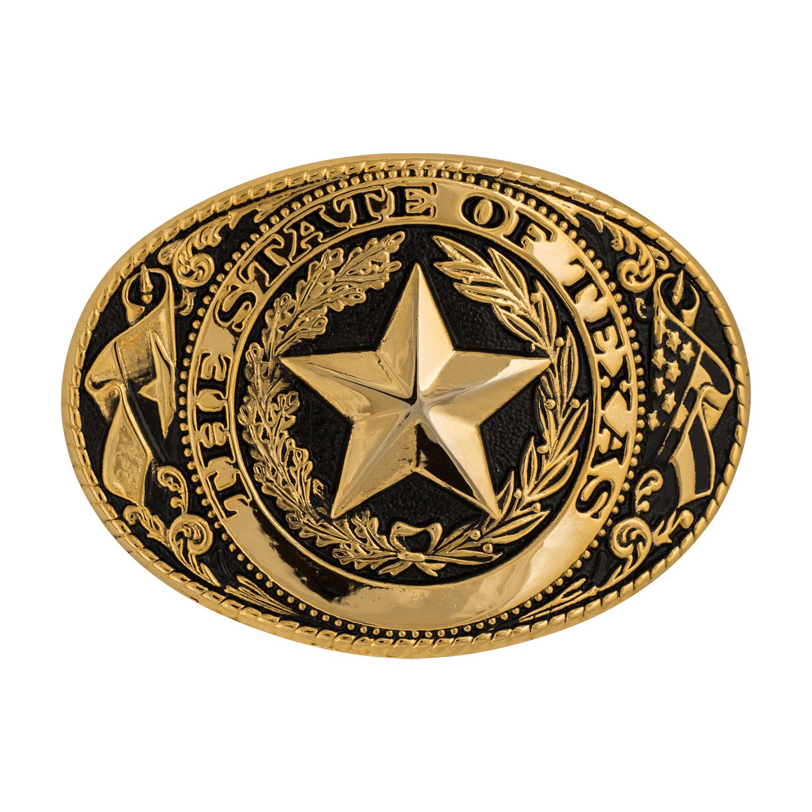 Texas State Seal Gold Tone and Black Belt Buckle