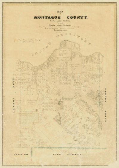 Carl Wilhelm von Rosenberg Map of Montague County, 1858