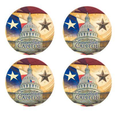 Texas Capitol Collage Coaster Set