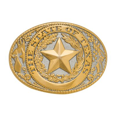 Texas State Seal Gold and Silver-Tone Belt Buckle