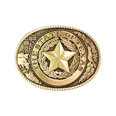 Texas State Seal Icons Brass Belt Buckle