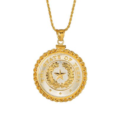 Texas State Seal Gold Coin Pendant with Gold Rope Chain