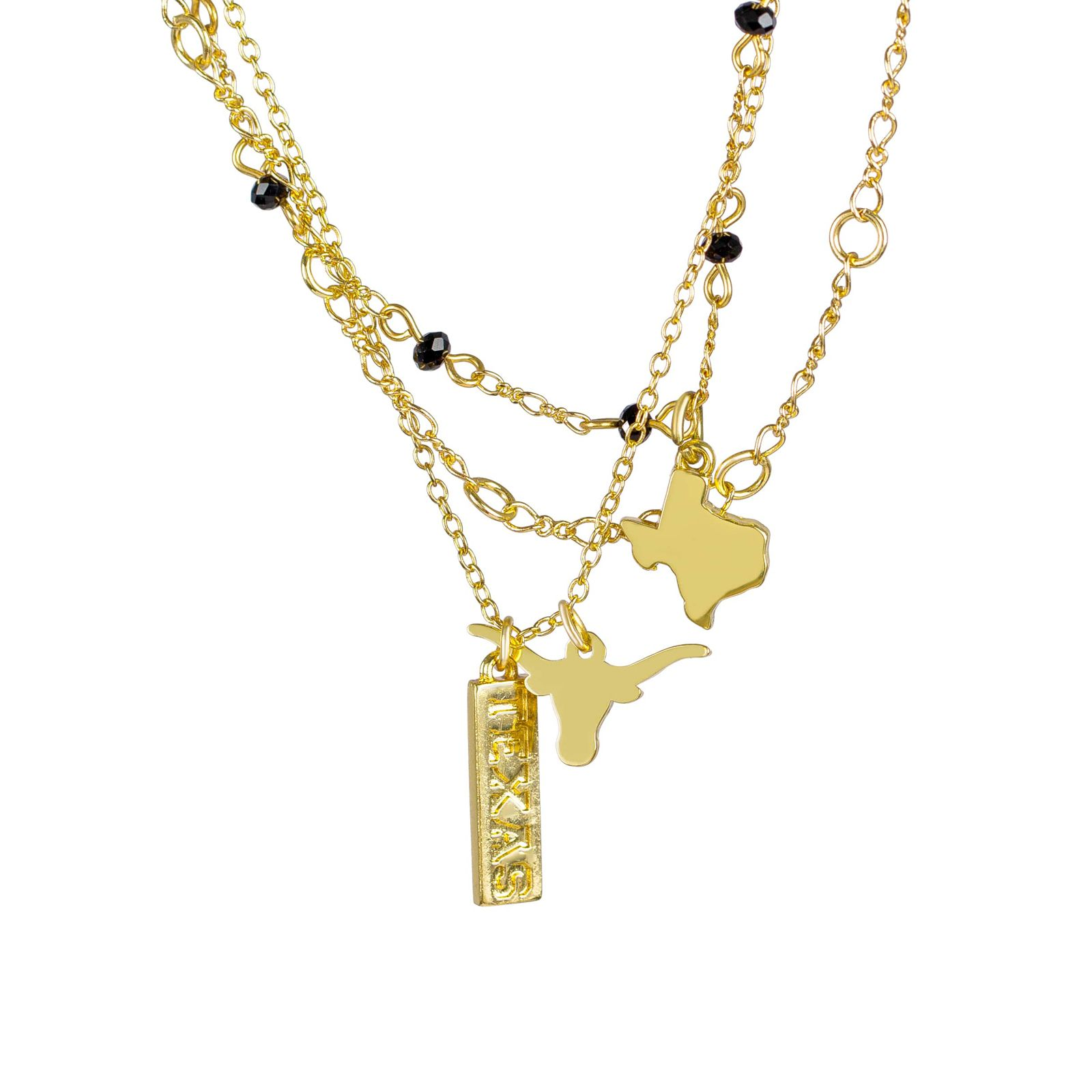 Texas Three Chain Gold Tone Necklace