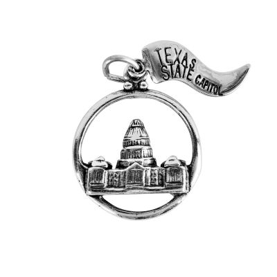 Texas Capitol Circle Sterling Silver Charm