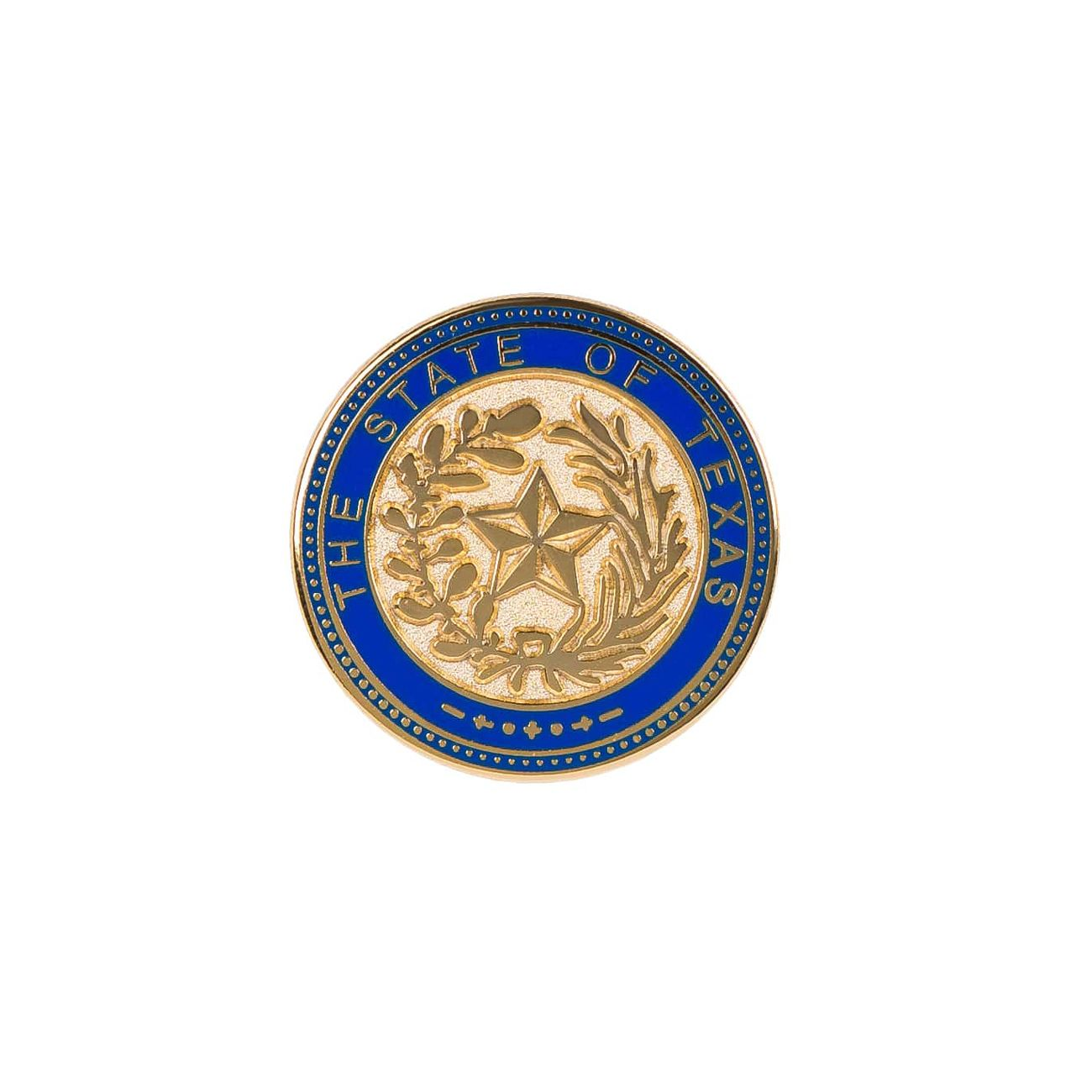 Texas State Seal Blue Rimmed Gold Tone Lapel Pin