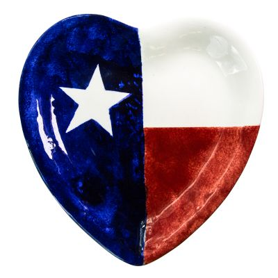 Brookwood Community Pottery Texas Flag Heart Shaped Ceramic Plate