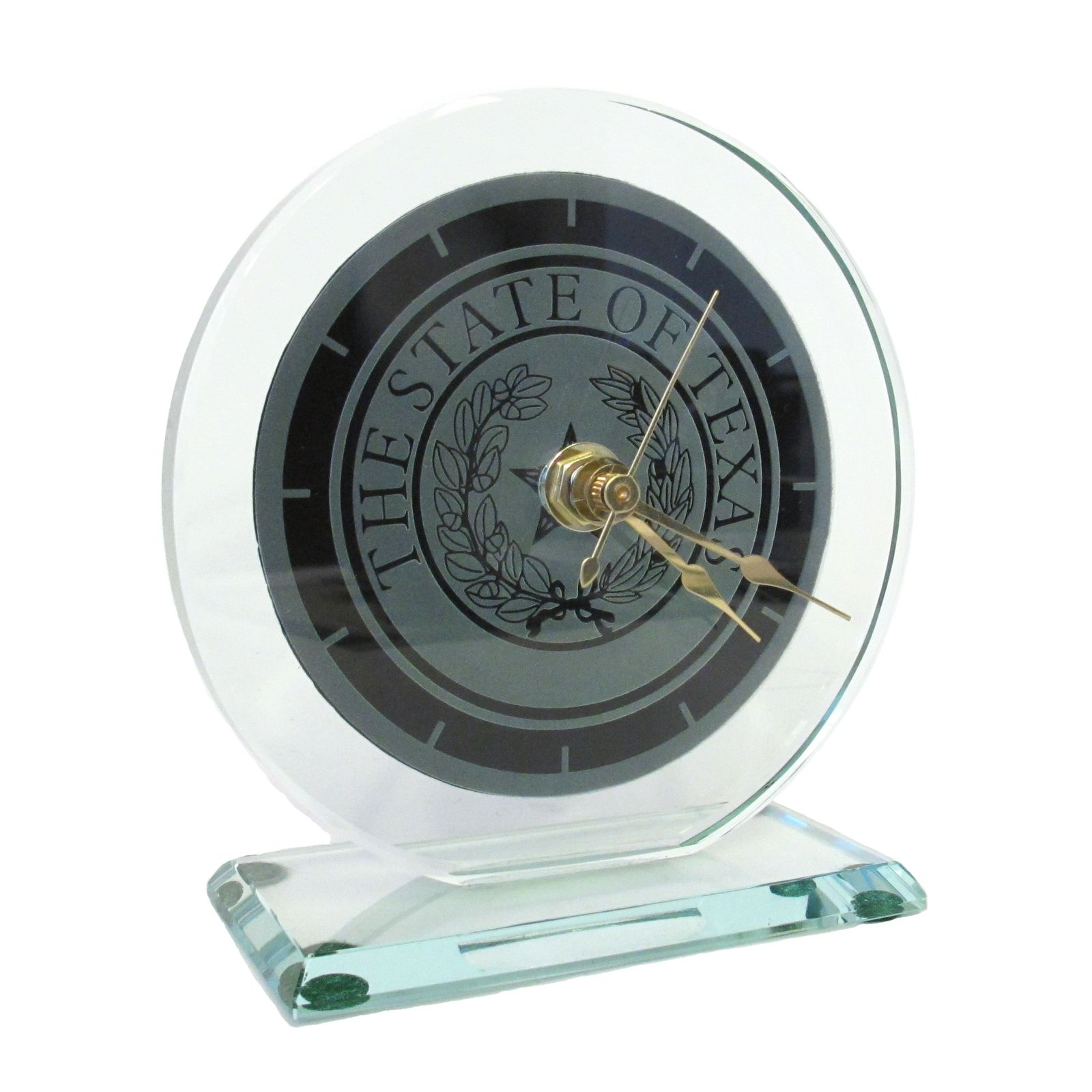 Texas State Seal Small Glass Desk Clock