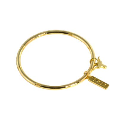 Texas Longhorn Charm Gold Tone Bangle Bracelet
