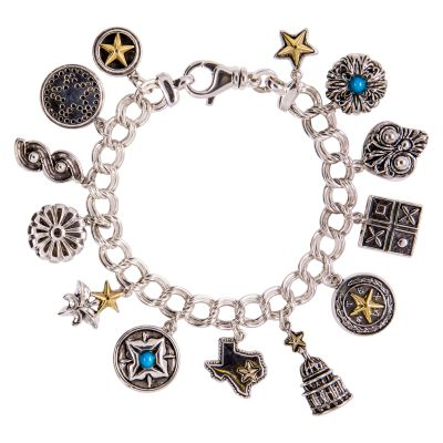 Texas 13 Charm Sterling Silver Bracelet