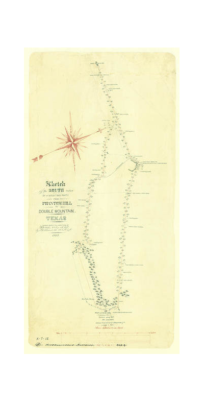 J. F. de B. Cotterell Route taken by a scouting party from Phantom Hill to Double Mountain, Texas, 1852