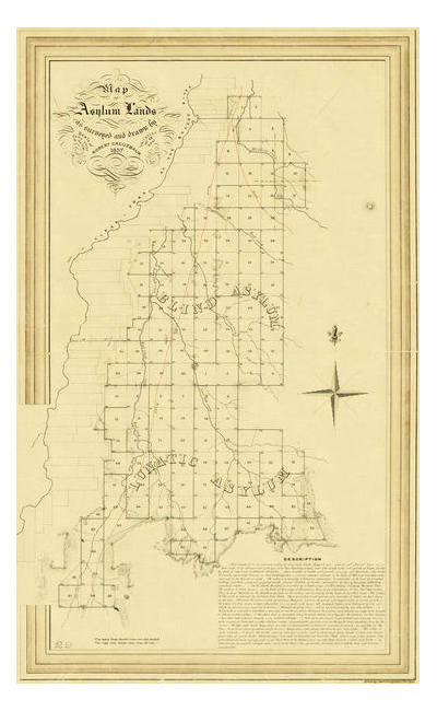 R. Creuzbaur Map of Asylum Lands - Shackelford, Jones, Taylor and Callahan Counties, 1857