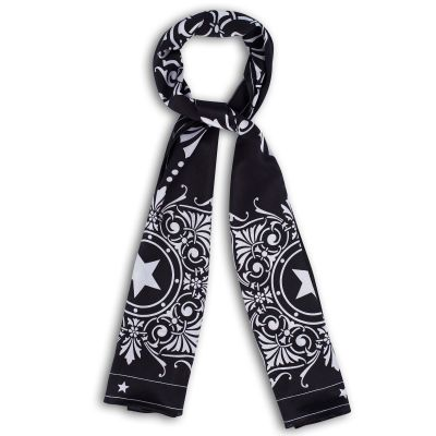 Capitol Window Black Silk Crepe de Chine Scarf