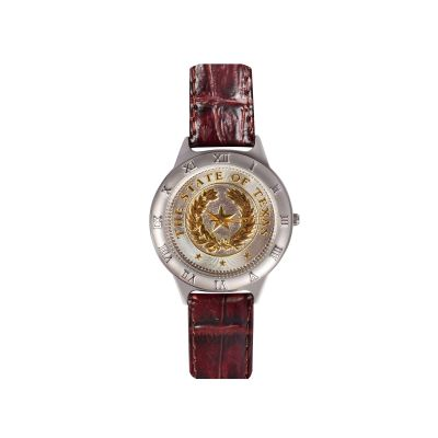 State Seal Large Brown Leather Watch
