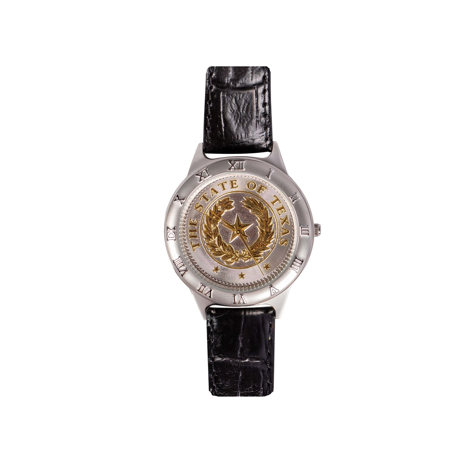 State Seal Small Black Leather Watch