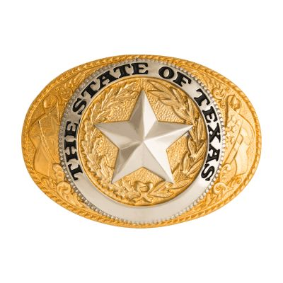 Texas State Seal Gold-Plated Belt Buckle