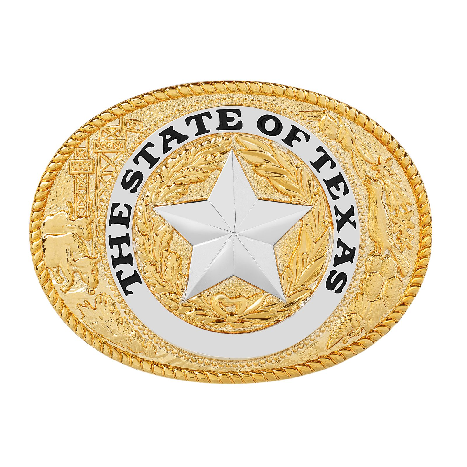Gold Plated Brass State Seal Belt Buckle