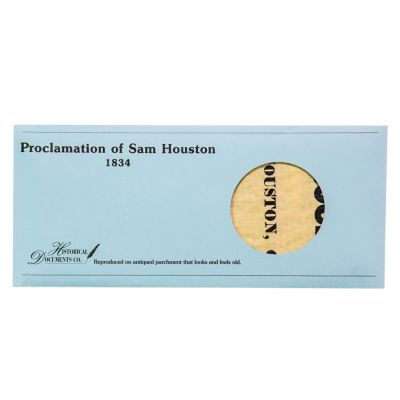Replica Proclamation of Sam Houston 1834 Broadsheet