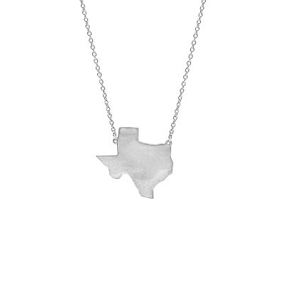 Silver Tone Texas State Necklace
