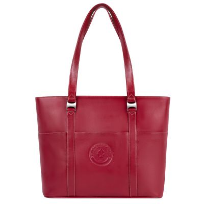 Red Leather Computer Tote Bag