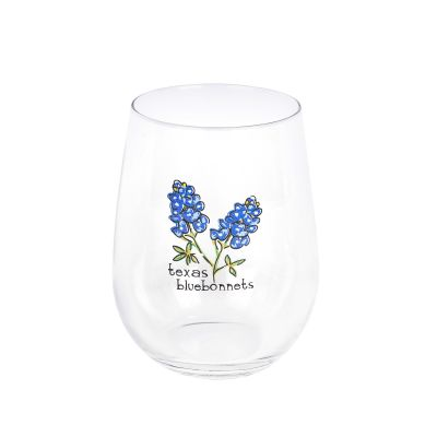 Texas Bluebonnets Stemless Wine Glass