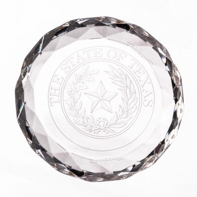 Texas State Seal Glass Chiseled Paperweight