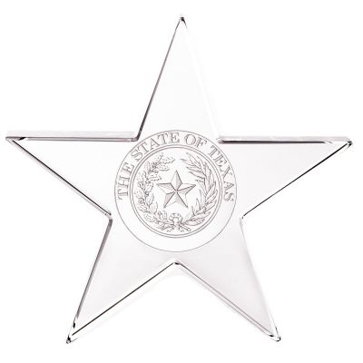 Texas State Seal Glass Star Paperweight
