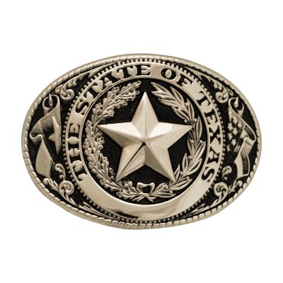 Texas State Seal Silver-Tone and Black Belt Buckle