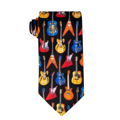 Hanging Guitars Hand Printed Silk Tie