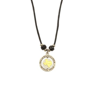 Texas Capitol Silver Tone Spinner Necklace